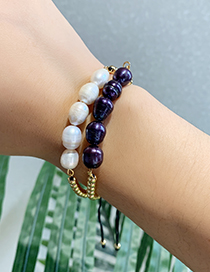 Fashion Navy Blue Copper Beaded Natural Pearl Bracelet