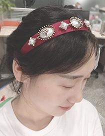 Fashion Red Wine Fabric Alloy Pearl Headband