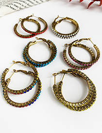 Fashion Color Alloy Studded Large Earrings