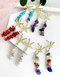 Fashion Lake Green Alloy Natural Stone Starfish Earrings