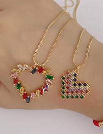 Fashion Gold Copper Inlay Zircon Love Necklace