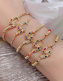 Fashion Gold Copper Inlaid Zircon Fish Bracelet