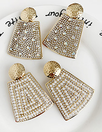 Fashion Pearl + Drill Alloy Pearl-studded Geometric Earrings