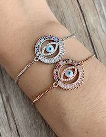 Fashion Rose Gold Copper Inlay Zircon Eye Bracelet