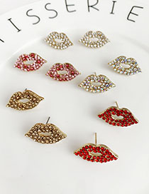 Fashion Red Alloy Diamond Lip Studs
