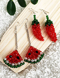 Fashion Red Alloy Resin Beads Red Pepper Earrings