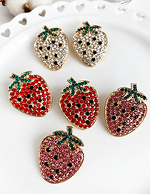 Fashion Red Alloy Studded Strawberry Stud Earrings