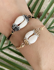 Fashion Black Braided Rope Zircon Shell Bracelet