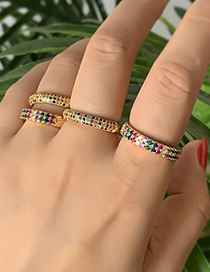 Fashion Gold Copper Inlaid Zircon Ring (1PCS)