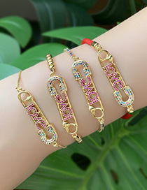 Fashion Gold Copper Inlaid Zircon Pin Letters Love Bracelet