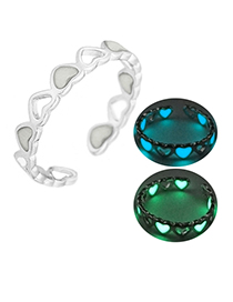 Fashion Silver + Yellow Green Hollow Love Light Adjustable Ring
