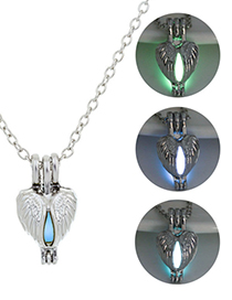 Fashion Blue Green Hollow Love Angel Wings Necklace