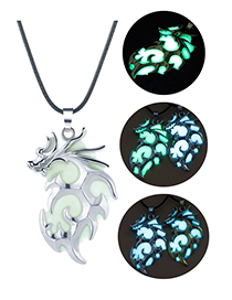 Fashion Ancient Silver + Blue Green Flying Dragon Necklace