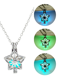 Fashion Blue Green Five-pointed Star Luminous Necklace