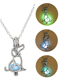 Fashion Blue Green Hollow Luminous Necklace