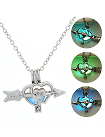 Fashion Blue Green Skeleton Arrows Night Bead Necklace