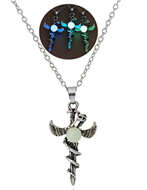 Fashion Blue And Green Luminous Sword Flying Dragon Necklace