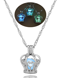Fashion Yellow-green Bell Hollow Luminous Cage Necklace