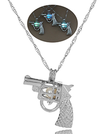Fashion Blue Green Pistol Hollow Pistol Styling Luminous Cage Necklace