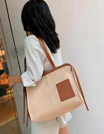 Fashion Black Contrast Stitching Canvas Shoulder Portable Messenger Bag