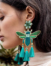 Fashion Royal Blue Alloy Embroidery Bee Tassel Stud Earrings