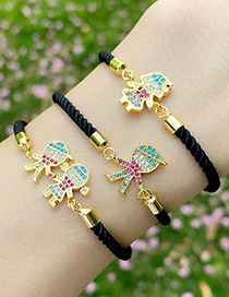 Fashion Boy Black Rope Copper Inlaid Zircons Cartoon Character Bracelet