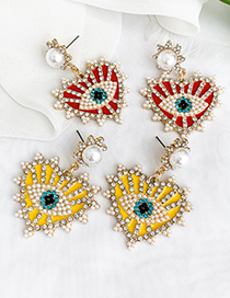 Fashion Yellow Alloy Diamond Earrings