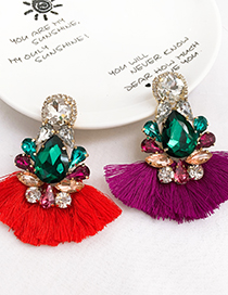 Fashion Blue Alloy Fringed Stud Earrings