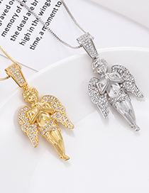 Fashion Golden Angel Necklace In Copper With Zircon