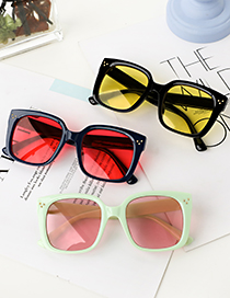 Fashion Beige Frame Black Lens Resin Square Sunglasses