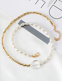 Fashion Golden Alloy Resin Pearl Chain Double-layer Necklace
