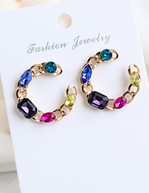 Fashion Color Alloy C Chain Stud Earrings