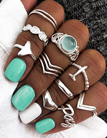 Fashion Silver Alloy Letter Aircraft Ring Set