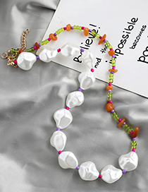 Fashion White+green Resin Pearl Rice Bead Necklace