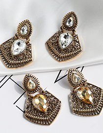 Fashion Champagne Famous Earrings With Alloy Diamonds
