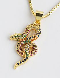 Fashion Color Copper-set Zircon Serpentine Necklace