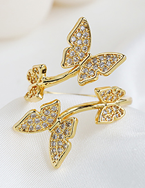 Fashion Golden Copper Inlaid Zircon Flower Ring