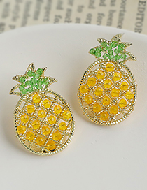 Fashion Yellow Alloy Resin Rice Pearl Pineapple Stud Earrings