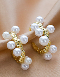 Fashion Golden Alloy Pearl Semicircle Earrings