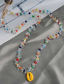 Fashion Color Alloy Resin Pearl Rice Bead Double Necklace