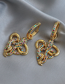 Fashion Color Copper Inlaid Zircon Serpentine Earrings
