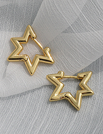 Fashion Golden Copper Five-pointed Star Earrings