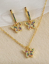 Fashion Golden Copper Inlaid Zircon Butterfly Necklace