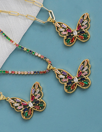 Fashion Golden Copper Inlaid Zircon Hollow Butterfly Necklace