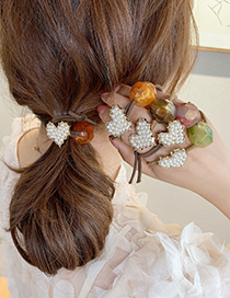 Fashion Coffee Red Pearl Love Geometric Knotted Elastic Hair Rope