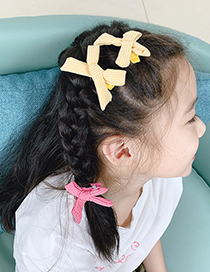 Fashion Red Grid + Yellow Grid [4 Piece Set] Childrens Hairpin Set With Fabric Check Color Alloy Bow