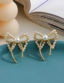 Fashion Gold Color Alloy Pearl Bow Earrings