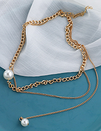 Fashion Gold Color Alloy Chain Pearl Double Necklace