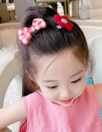 Fashion Pink Plaid Bow + Pink Flowers Flower And Butterfly Combined Gold Childrens Hairpin Set