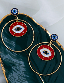 Fashion Red Alloy Drop Oil Hollow Round Eye Stud Earrings